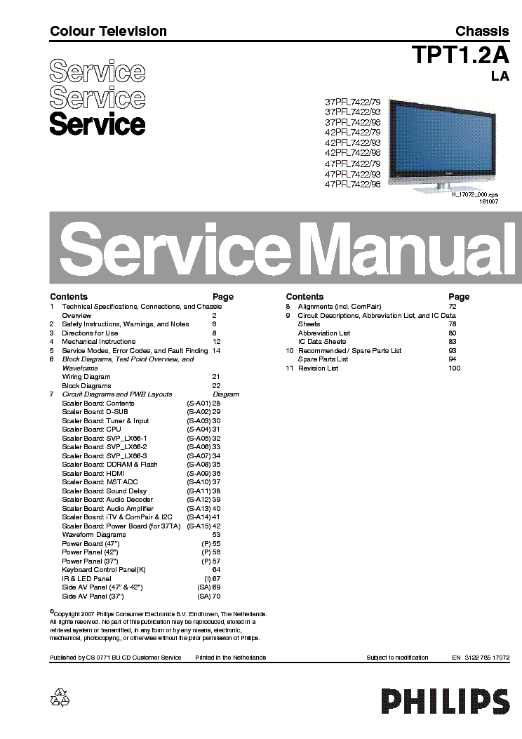 philips 37 42 47pfl7422 79 93 98 chassis tpt1 2a la service manual rh elektrotanya com Yamaha Service Manuals PDF Tractor Service Manuals